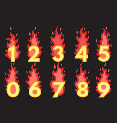 flaming number icons set vector image