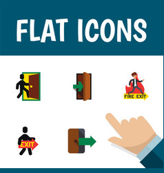 flat icon door set of evacuation emergency vector image