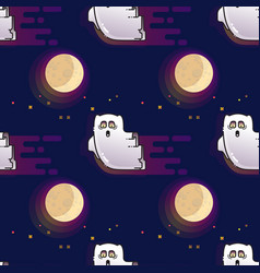 ghost seamless pattern cute cartoon fluing ghost vector image