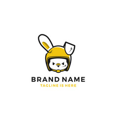 Girl rabbit hare with rider helmet logo template vector