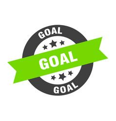 Goal sign goal black-green round ribbon sticker vector