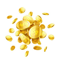 gold 3d coins vector image