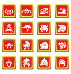 Helmet icons set red square vector