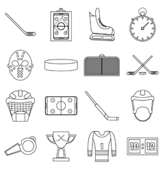 Hockey items icons set outline style vector