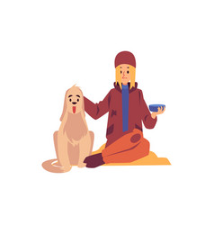 homeless woman sitting with dog and holding vector image