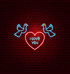 i love you heart neon label vector image