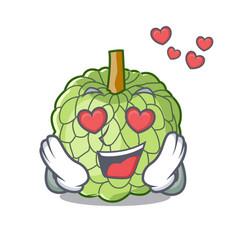 In love fresh custard apple sweet fruit cartoon vector