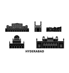 India hyderabad flat travel skyline set vector