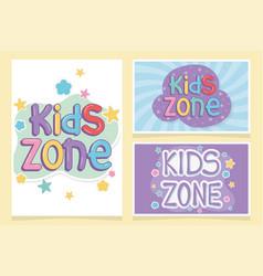 Kids zone colorful inscriptions creative design vector