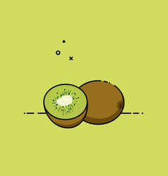 kiwi open by half vector image