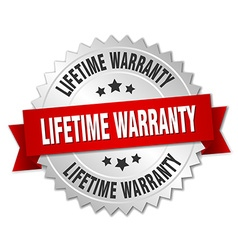Lifetime warranty 3d silver badge with red ribbon vector
