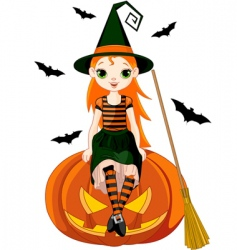 little halloween witch on pumpkin vector image