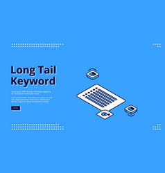 long tail keyword banner with isometric key list vector image
