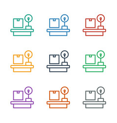 Luggage weight icon white background vector