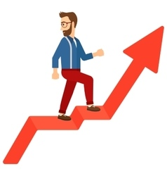 Man standing on uprising chart vector image