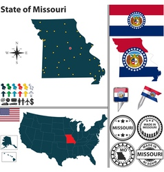 Map of Missouri vector image