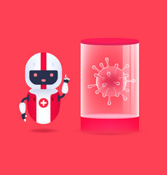 Medical friendly android robot with corona virus vector