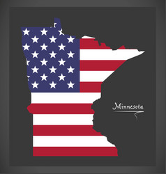 Minnesota map with american national flag vector