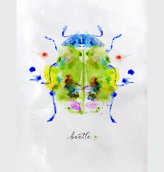 monotype colorful beetle vector image
