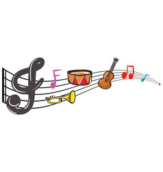 Musical instruments and music notes in background vector