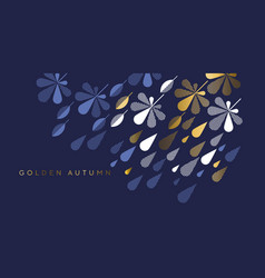 Navy and gold fall leaves and rain drops vector