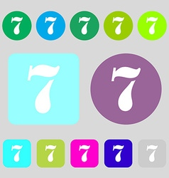 Number seven icon sign 12 colored buttons Flat vector