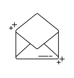 Open envelope mail office line icon style vector