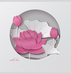 oriental pattern greeting card with cut out lotus vector image