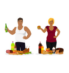 overweight people fast food or unhealthy vector image