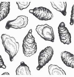 Oysters seamless pattern hand drawn seafood vector