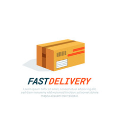 parcel icon delivery box cardboard flat style vector image
