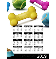 pets care 2019 year calendar poster vector image