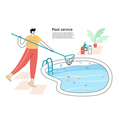 Pool maintenance skimming leaves vector