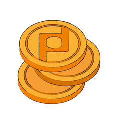 Protoshare coin cryptocurrency stack icon vector