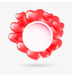 Red heart shaped balloons vector