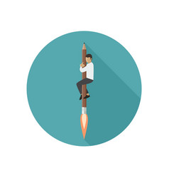 Rocket-pencil with man vector