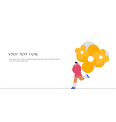 running women with a bouquet flowers vector image