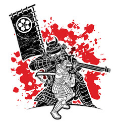 Samurai warrior with weapons group ronin vector