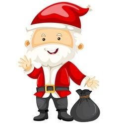 Santa holding black bag vector