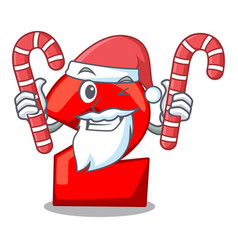 santa with candy number two red isolated on mascot vector image