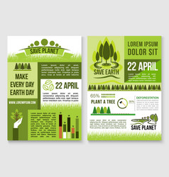 Save nature and earth protection templates vector