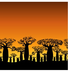 Seamless decorative border of baobabs silhouette vector
