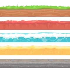 Seamless grounds soils and land set for UI vector image
