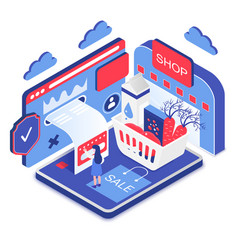 Secure online shopping isometric vector