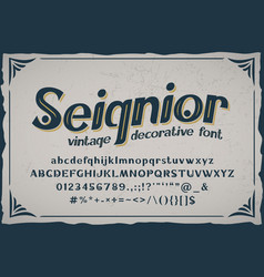 seignior - vintage font with base vector image