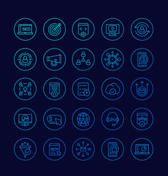 Seo and digital marketing icons linear set vector