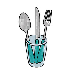 set cutlery tools in cup vector image