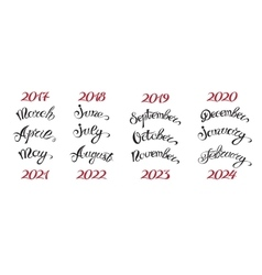 Set hand-drawn lettering months names and namber vector