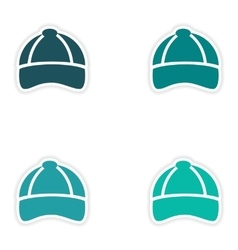 Set of paper stickers on white background cap vector