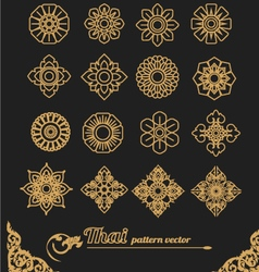 Set thai ornament design and icon flower vector